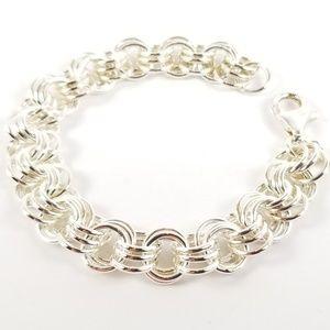 """Sterling 7 1/2"""" Triple Rolo Link Bracelet 26.3g"""